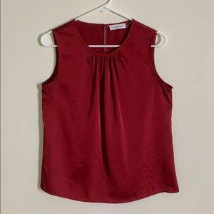 Calvin Klein Red Silk Shell Top (Small)